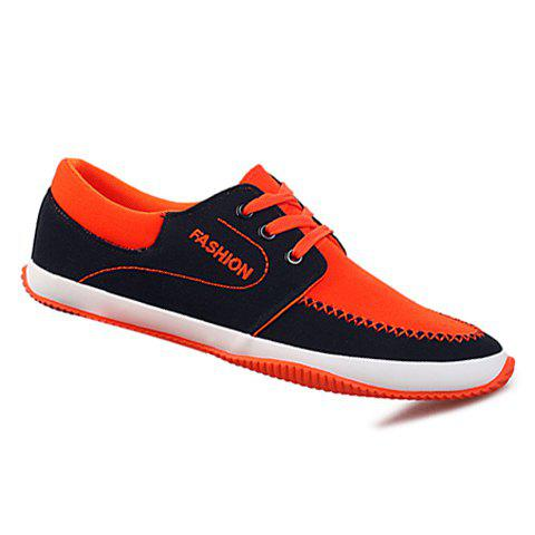 Preppy Color Block and Stitching Design Suede Casual Shoes For Men - RED 43