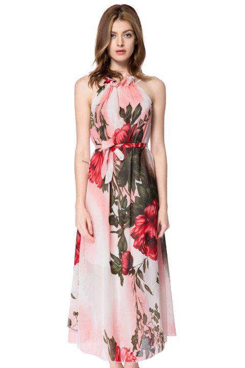 020ad57088 Bohemian Style Women s Maxi Dress With Halter Neck Large Floral Print  Design - AS THE PICTURE