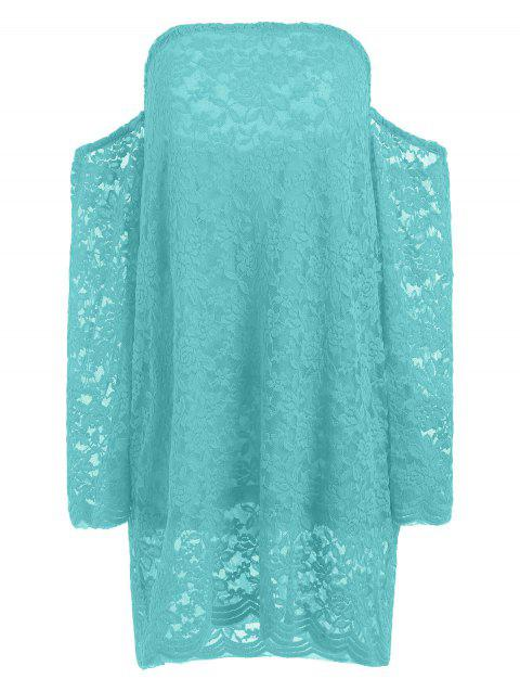 Long Sleeve Lace Off The Shoulder Dress - GREEN M