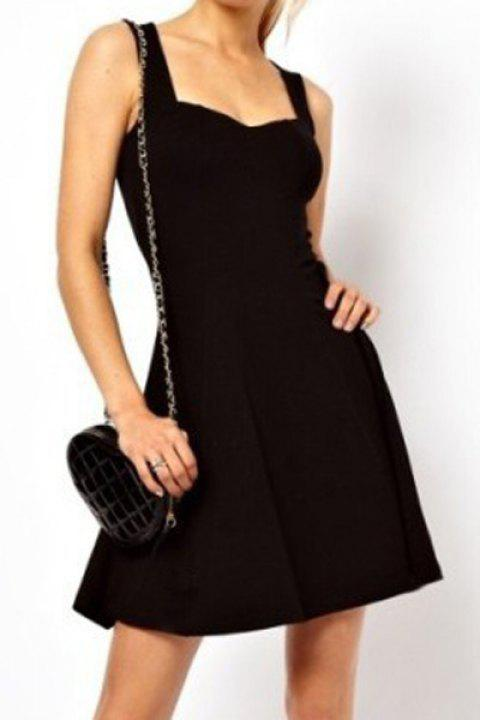Graceful Sweetheart Neck Sleeveless Pure Color Elastic Flounce Dress For Women - BLACK M