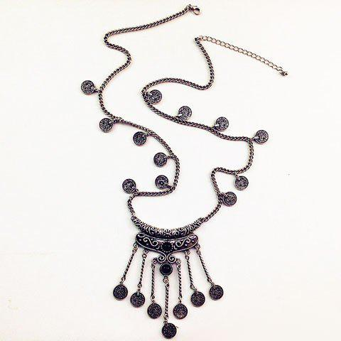 Fringed Coin Shape Necklace - SILVER GRAY