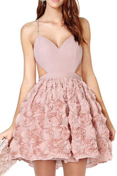 Sexy Style Spaghetti Strap Cross Backless Stereo Floral Sleeveless Dress For Women - PINK M