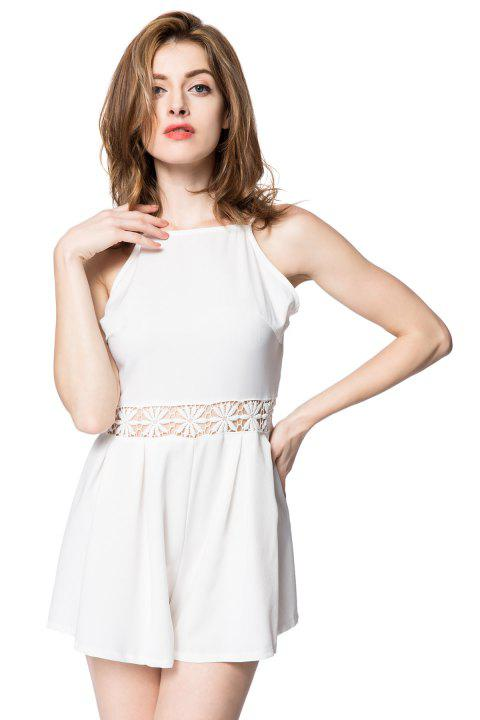 Sexy Spaghetti Strap Backless Solid Color Hollow Out Women's Romper - WHITE L