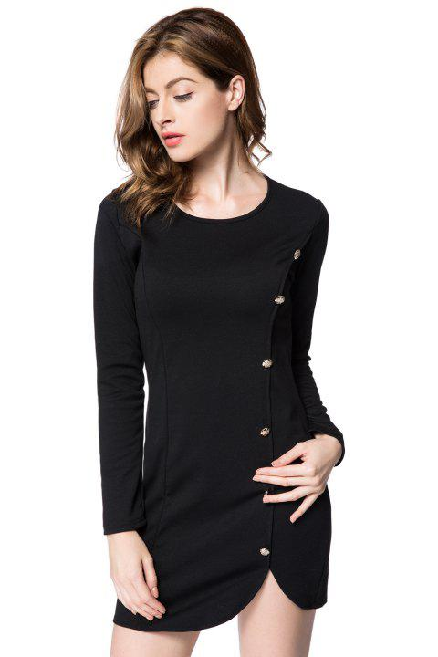 Solid Color Long Sleeve Round Collar Buttons Design Packet Buttock Dress - BLACK M