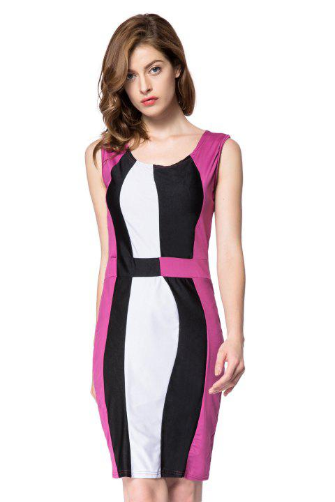 da326da4a83 Simple Style Scoop Neck Sleeveless Color Block Packet Buttock Dress -  PURPLE L