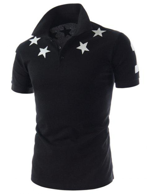 Slimming Turn-down Collar Five-Pointed Star Print Short Sleeves Polyester T-Shirt - BLACK 2XL