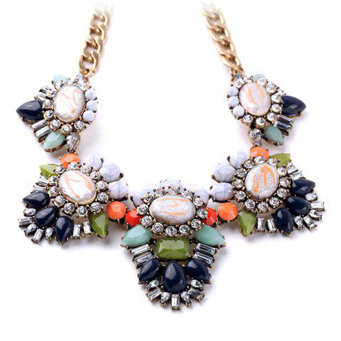 Luxurious Sweet Rhinestone Floral Necklace For Women - COLORMIX