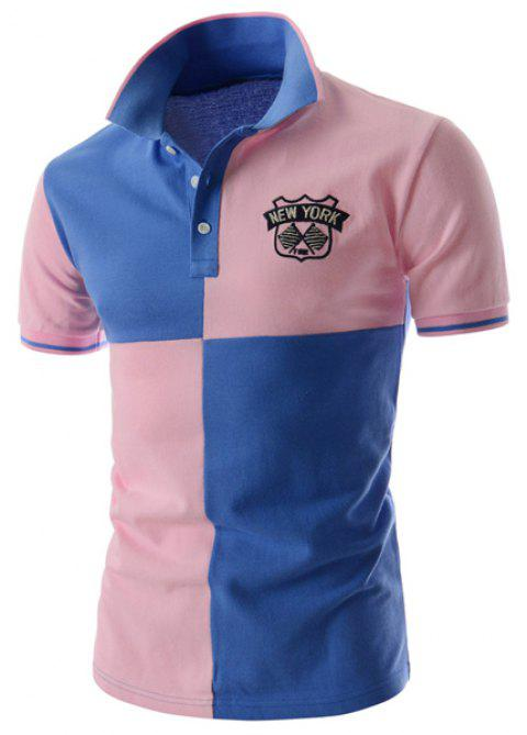 Two Tone Graphic Polo Tee - BLUE/PINK M