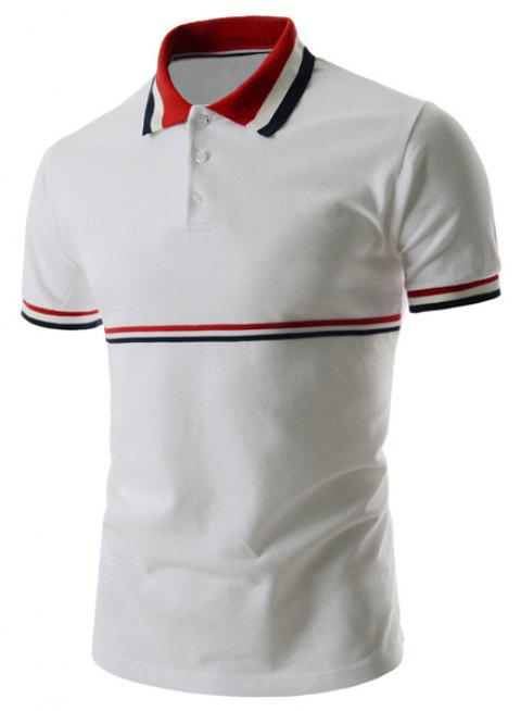 Stripe Panel Polo T-Shirt - WHITE M
