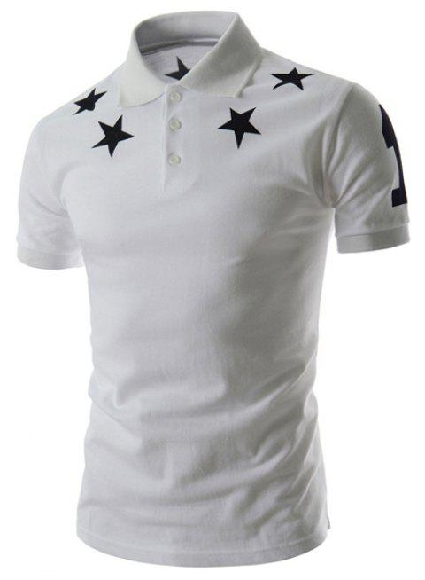 Fashion Slimming Turn-down Collar Five-Pointed Star Print Short Sleeves Men's Polyester Polo T-Shirt - WHITE M