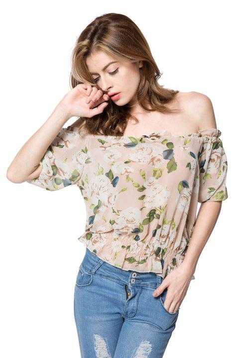 Stylish Women's Slash Neck Half Sleeves Print Blouse - AS THE PICTURE M