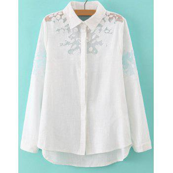 Refreshing White Polo Collar Embroidery Long Sleeve Blouse For Women