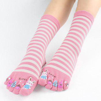 Pair of Chic Stripe and Cartoon Pattern Separate Toe Women's Mid-calf Knitted Socks