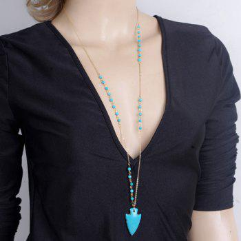 Fake Turquoise Arrow Pendant Sweater Chain