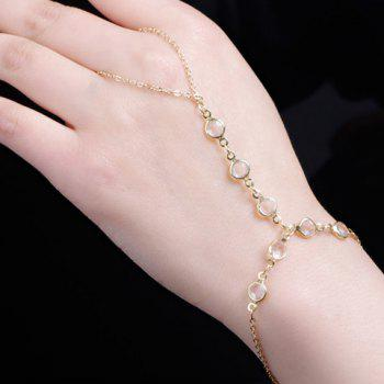 Faux Crystal Adjustable Link Bracelet With Ring