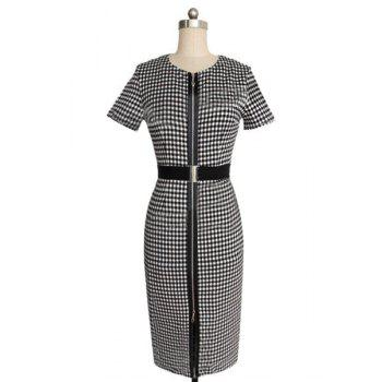Stylish Women's Jewel Neck Gingham Short Sleeve Zippered Bodycon Dress