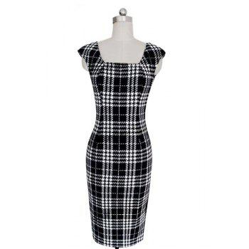 Stylish Women's Square Neck Sleeveless Plaid Bodycon Dress - WHITE AND BLACK M