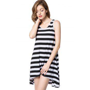 High Low Scoop Neck Striped Tank Dress