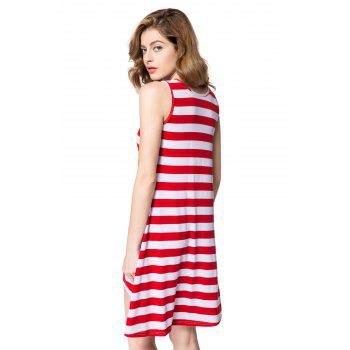 High Low Scoop Neck Striped Tank Dress - RED ONE SIZE
