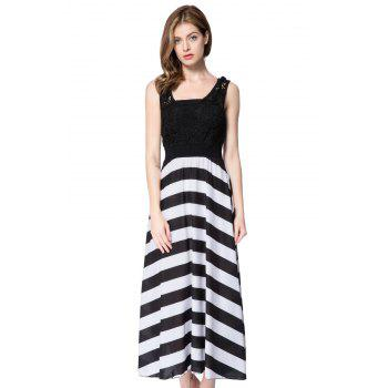 Lace Embellished Hollow Out Design Sleeveless Scoop Neck Striped Dress