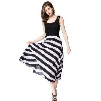 Lace Embellished Hollow Out Design Sleeveless Scoop Neck Striped Dress - WHITE/BLACK L