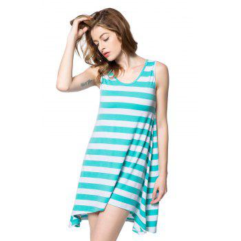 High Low Scoop Neck Striped Tank Dress - GREEN ONE SIZE