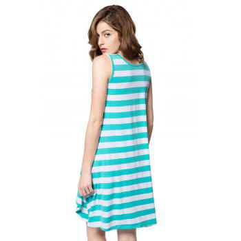 High Low Scoop Neck Striped Tank Dress - ONE SIZE ONE SIZE
