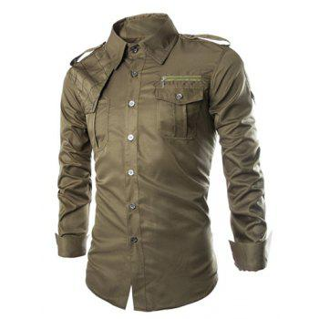 Trendy Uniform Style Epaulet and Zipper Design Shirt Collar Long Sleeve Fitted Men's Polyester Shirt - ARMY GREEN M