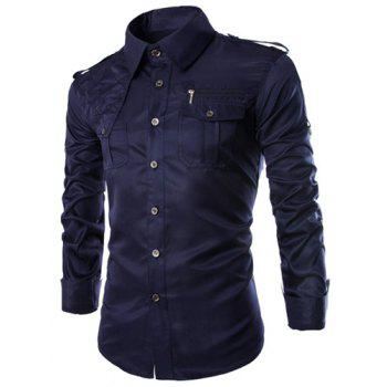 Trendy Uniform Style Epaulet and Zipper Design Shirt Collar Long Sleeve Fitted Men's Polyester Shirt