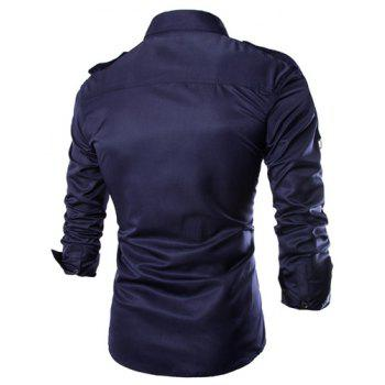 Trendy Uniform Style Epaulet and Zipper Design Shirt Collar Long Sleeve Fitted Men's Polyester Shirt - CADETBLUE CADETBLUE