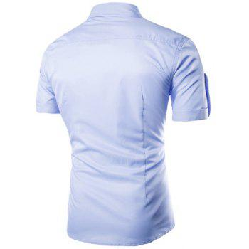 Trendy Multi-Pocket Curling Edge Shirt Collar Short Sleeve Fitted Men's Polyester Shirt - AZURE AZURE