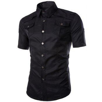Trendy Multi-Pocket Curling Edge Shirt Collar Short Sleeve Fitted Men's Polyester Shirt