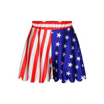 Fashionable Star Stripe American Flag Print Shorts For Women