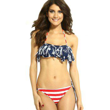 Sexy Style Halter Neck Tie-Up Star Stripe American Flag Print Bikini Set For Women