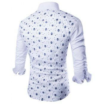 Trendy Tiny Skull and Five-Point Star Print Shirt Collar Long Sleeve Fitted Men's Polyester Shirt - XL XL