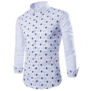 Trendy Tiny Skull and Five-Point Star Print Shirt Collar Long Sleeve Fitted Men's Polyester Shirt - WHITE WHITE