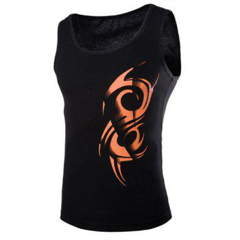 Trendy Ethnic Totem Print Round Neck Sleeveless Slimming Men's Polyester Tank Top - BLACK L