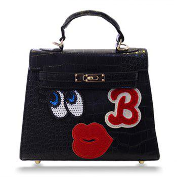 Fashion Lip and Eye Design Crocodile Print Tote Bag For Women