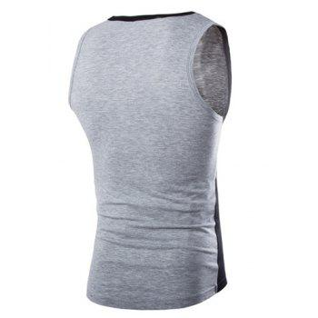 Trendy Color Block Splicing Round Neck Sleeveless Slimming Men's Polyester Tank Top - L L