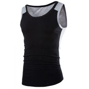 Trendy Color Block Splicing Round Neck Sleeveless Slimming Men's Polyester Tank Top - BLACK BLACK