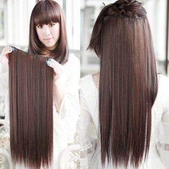 Glossy Long Straight Clip-In High Temperature Fibre Stylish Charming Women's Hair Extension - DEEP BROWN DEEP BROWN