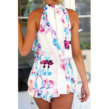 Cute Round Collar Sleeveless Floral Pattern Back Zippered Tank Top + Ruffled Skirt Twinset For Women - AS THE PICTURE XL