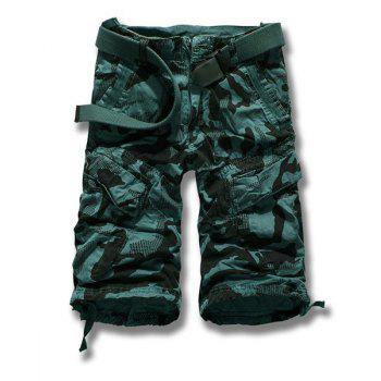 Fashion Multi-Pocket Leisure Camouflage Military Uniform Style Straight Leg Summer Loose Fit Men's Cotton Blend Capri Pants