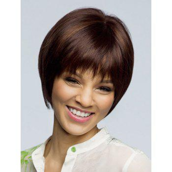 Trendy Synthetic Brown Highlight Short Straight Bob Full Bang Noble Women's Capless Wig