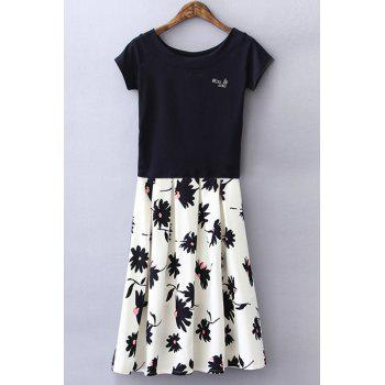 Stylish Short Sleeve Round Neck Beaded T-Shirt + Floral Skirt Women's Twinset - WHITE AND BLACK S