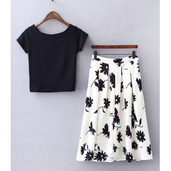 Stylish Short Sleeve Round Neck Beaded T-Shirt + Floral Skirt Women's Twinset - S S