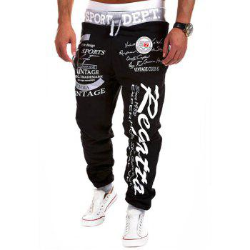 Fashion Lace-Up Letter Print Color Block Rib Splicing Loose Fit Beam Feet Men's Polyester Sweatpants