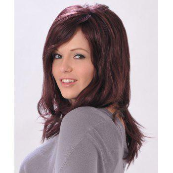 Trendy Synthetic Long Straight Slightly Curled Side Bang Fluffy Sexy Charming Women's Capless Wig