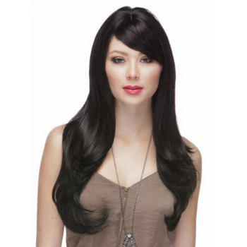 Multi-Layered Elegant Hairstyle Side Bang Long Wavy Women's Black Best Synthetic Wig - COLORMIX COLORMIX