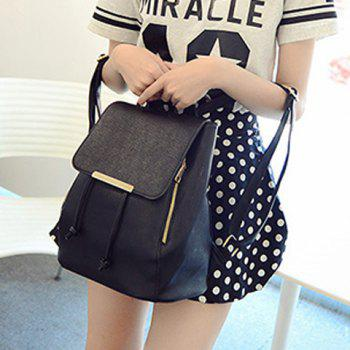 Concise String and PU Leather Design Satchel For Women - BLACK